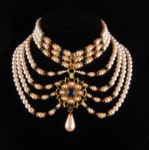 Edwardian Collar - Queens Pearl Necklace -  Red jeweled pendant - 7 strands - Hi - $325.00