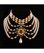 Edwardian Collar - Queens Pearl Necklace -  Red jeweled pendant - 7 stra... - $325.00