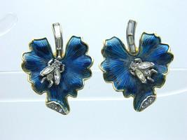 Crown TRIFARI Blue Leaf Clear Rhinestone Bug Gold Tone Clip-On Earrings Vintage - $98.99