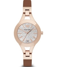 Emporio Armani AR7430 Rose Gold Tone Brown Leather Ladies Watch - $215.89