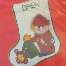 """Dimensions Crewel 7 1/2""""  Toddlers Bedtime Baby Stocking Kit Vintage NOS #8009 - $21.98"""