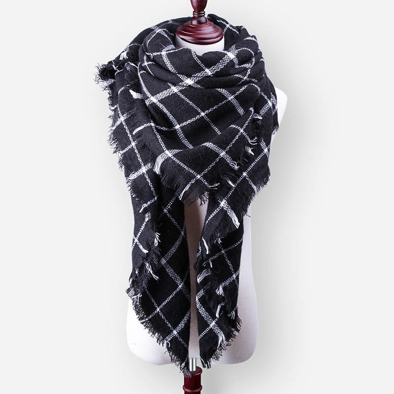 New Winter Scarf For Women Tartan Scarf Plaid Blanket Basic Shawls Autumn Winter