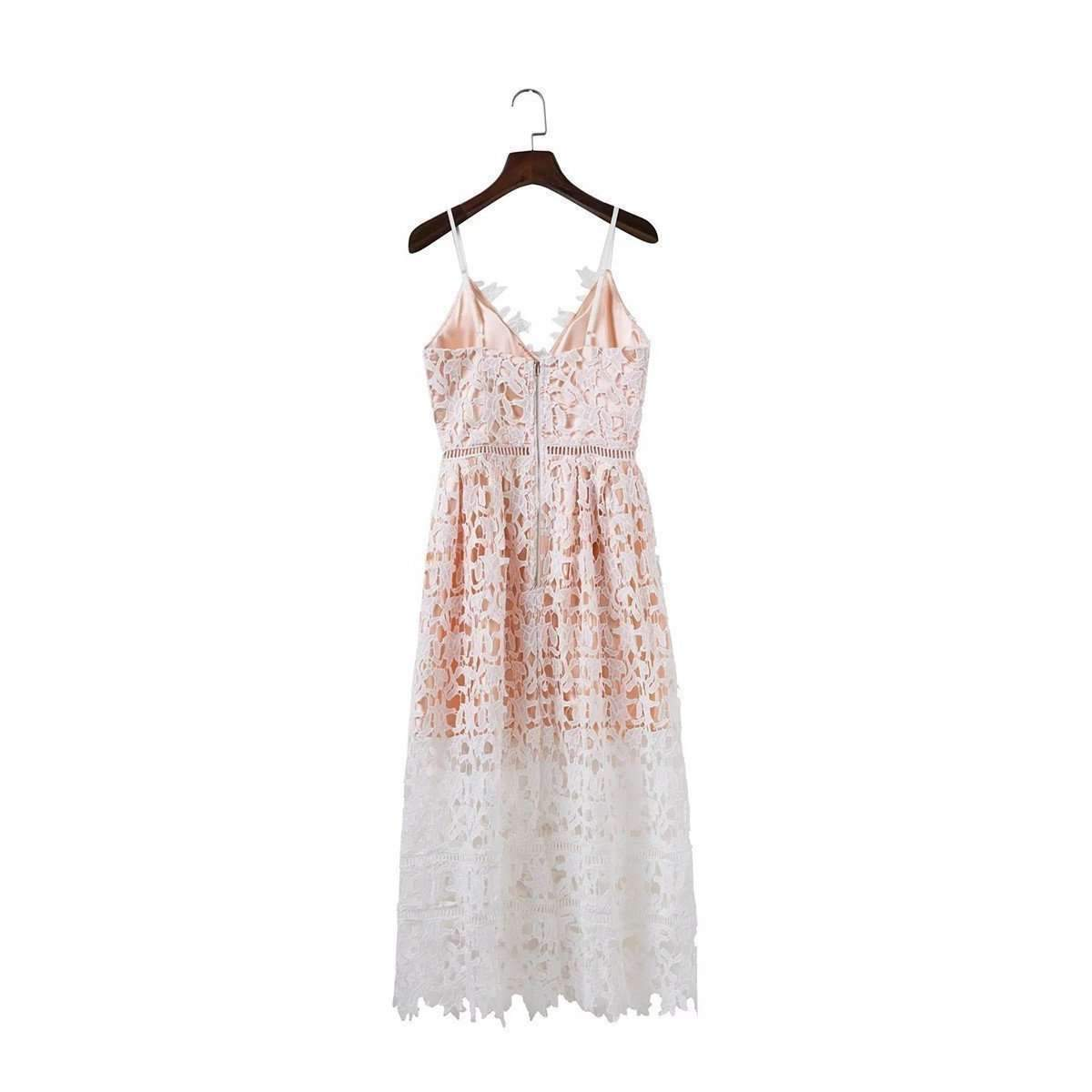 Lace Overlay Spaghetti Strap Women Summer Party Dress