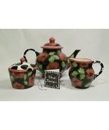 Droll Designs Tea Set with Teapot, Sugar Bowl & Creamer - Rose Pattern - $195.00