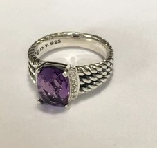 David Yurman Petite Wheaton Ring With Amethyst and Diamonds 10x8mm Size 8 - $296.01