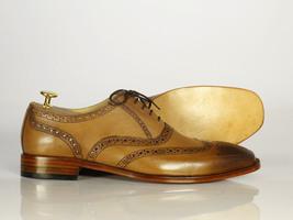 Handmade Men's Tan Leather Toe Burnished Wing Tip Heart Medallion Dress Shoes image 2