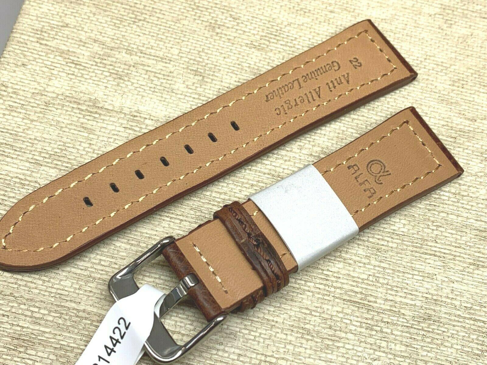 Alfa euro genuine leather watch band 22mm Premium calf  fits hamilton too image 2