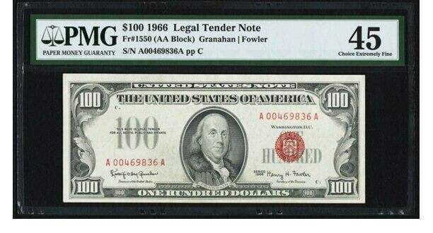 Fr. 1550 $100 1966 Legal Tender Note. PMG Choice Extremely Fine 45.