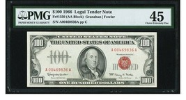 Fr. 1550 $100 1966 Legal Tender Note. PMG Choice Extremely Fine 45. - $326.32