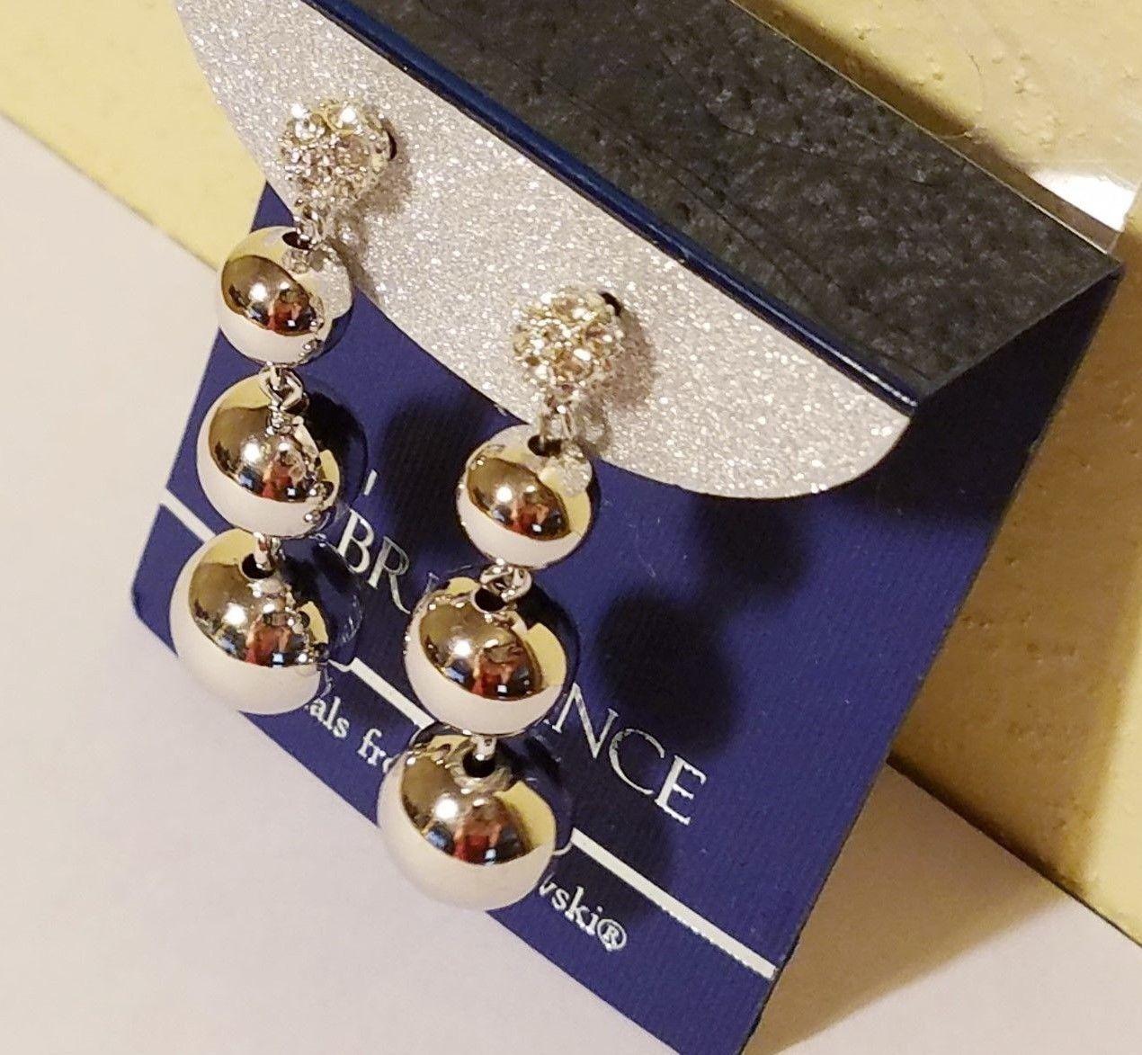 Estate Sale - NWT BRILLIANCE White Swarovski Crystal Silver Ball Dangle Earrings