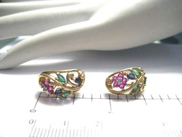 Vintage 10K Yellow Gold Earrings Ruby Emerald Sapphire Semi Precious Sto... - €118,19 EUR
