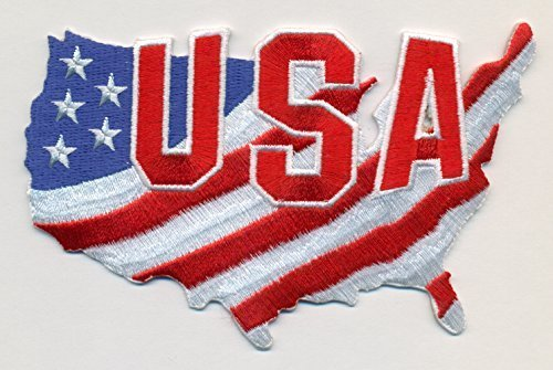 USA Flag in Map Embroidered Patch Size 4 1/2 x 3""