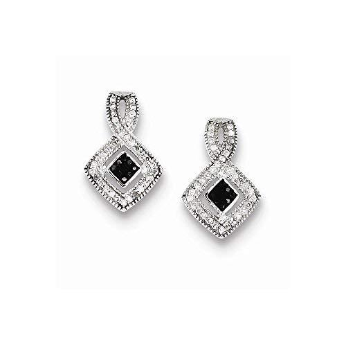 Primary image for Sterling Silver Black And White Diamond Earrings, Best Quality Free Gift Box