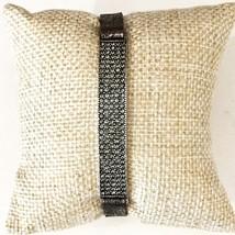 Bar Metallic Leather Bracelet, Pave Bar Leather Bracelet, Bar Bracelet, Black
