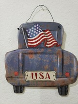 4TH OF July Patriotic Old Blue Farmhouse Rustic Trucks Wall Sign Decor 1... - $27.99