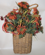 Fall Burnt Orange Coneflower Flower Basket Wall Decor - $16.95