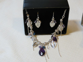 Ladies Womens Avon Beaded Vine Necklace & Earrings Gift Set Violt F35999... - $29.91