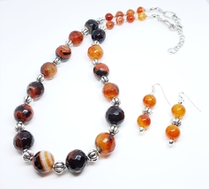 Fire Agate Dyed Amber Stones Duo Set - $30.00