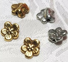 3pcs. Flower Fine Pewter Beads - 8x9x3mm; Hole 1.5mm image 1