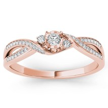 IGI Certified 14k Rose Gold 0.15Ct Diamond Three Stone Fashion Engagemen... - $379.99
