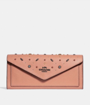 Coach Soft Wallet With Prairie Rivets Coral Pebble Leather F29716 - $88.11
