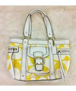 Coach Legacy Signature Tote Bag Purse Cotton Yellow White - $98.99