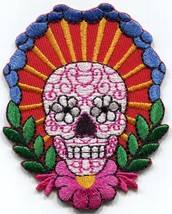 Sugar skull day of the dead logo embroidered applique iron-on patch S-1567 - $3.70 CAD