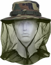 Woodland Camo Tactical Boonie Hat Sun Brush Full Mosquito Fly Bug Net Pr... - $15.99+