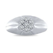 Diamond Pinky Ring Men's 10k Solid White Gold Fn Round Cut Wedding Band 1.20 CT - £77.07 GBP