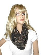 NEW NEW M STYLE LAB LEOPARD VISCOSE SUPER SOFT BROWN VELOUR INFINITY WRA... - $9.75