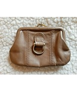 VINTAGE ROGER GIMBEL ACCESSORIES TAUPE LEATHER COIN PURSE W/KISS-CLASP - $9.00