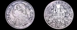 1868-XXIIIR Italian States Papal States 10 Soldi World Silver Coin - Piu... - $24.99