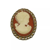 Vintage Cameo Profile of a Woman Brooch Pin Gold Tone Trim Resin Upswept Hair - $29.69