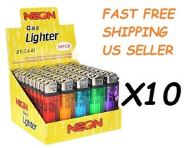 500 Ct Full Size Disposable Cigarette Lighters Assorted Color Wholesale ... - $89.05