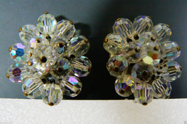 Vintage silver tone metal Auroral Borealis Beaded oval cluster clip on Earrings - $30.89