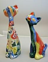 "2 Cat Figurines Colorful Modern Graffiti Art Signed Katze & Mieze 5""Tall... - $29.69"