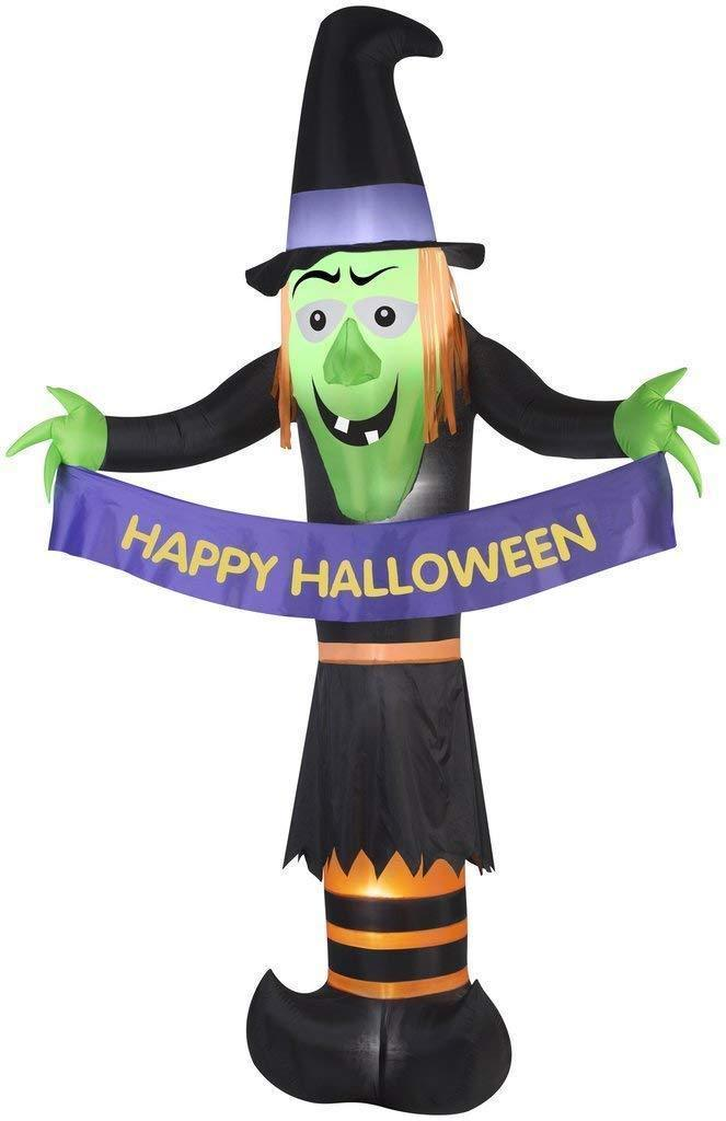 """Halloween Airblown Inflatable Witch Holding """"Happy Halloween"""" Banner 12ft NEW"""
