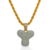 """925 Sterling Silver Gold Plated Custom Iced Out Bubble Letter """"Y"""" with 24"""" Chain - $79.99"""