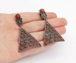 ISRAEL 925 Silver - Vintage Antique Coral Non Pierce Clip On Earrings - ... - $51.48