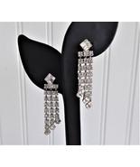 Rhinestone Earrings Dangles 1960s Clips Emerald Cut Round Waterfall Blin... - $38.00