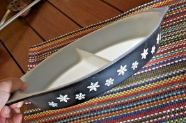 PYREX VTG Black Snowflake Divided Vegetable Casserole Dish bx70 - $22.72
