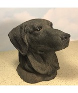 AUS BEN DOG BUST BLACK LAB CHALKWARE FIGURINE STATUE HEAD SCULPTURE 1987... - $91.74