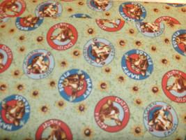 Homestead Quilt Fabric Cow Heads Sun Flowers on Sage Green Elsie Heifer BTY - $7.84
