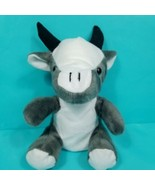 "Cow Bull Plush Grey White Stuffed Animal Black Horns 9"" Toy Sitting  - $15.83"