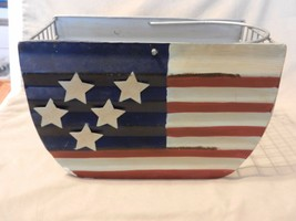 Metal Wire Basket with American Flag Painted on With Handle - $29.70
