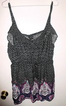 TORRID Top Plus Sz 2 (18-20) Floral Sleeveless Elastic Waist Shirt Black... - $26.72
