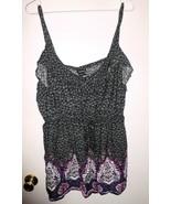 TORRID Top Plus Sz 2 (18-20) Floral Sleeveless Elastic Waist Shirt Black... - $26.72