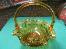 Beautiful Amber Glass BASKET...Ruffled edge - $17.41