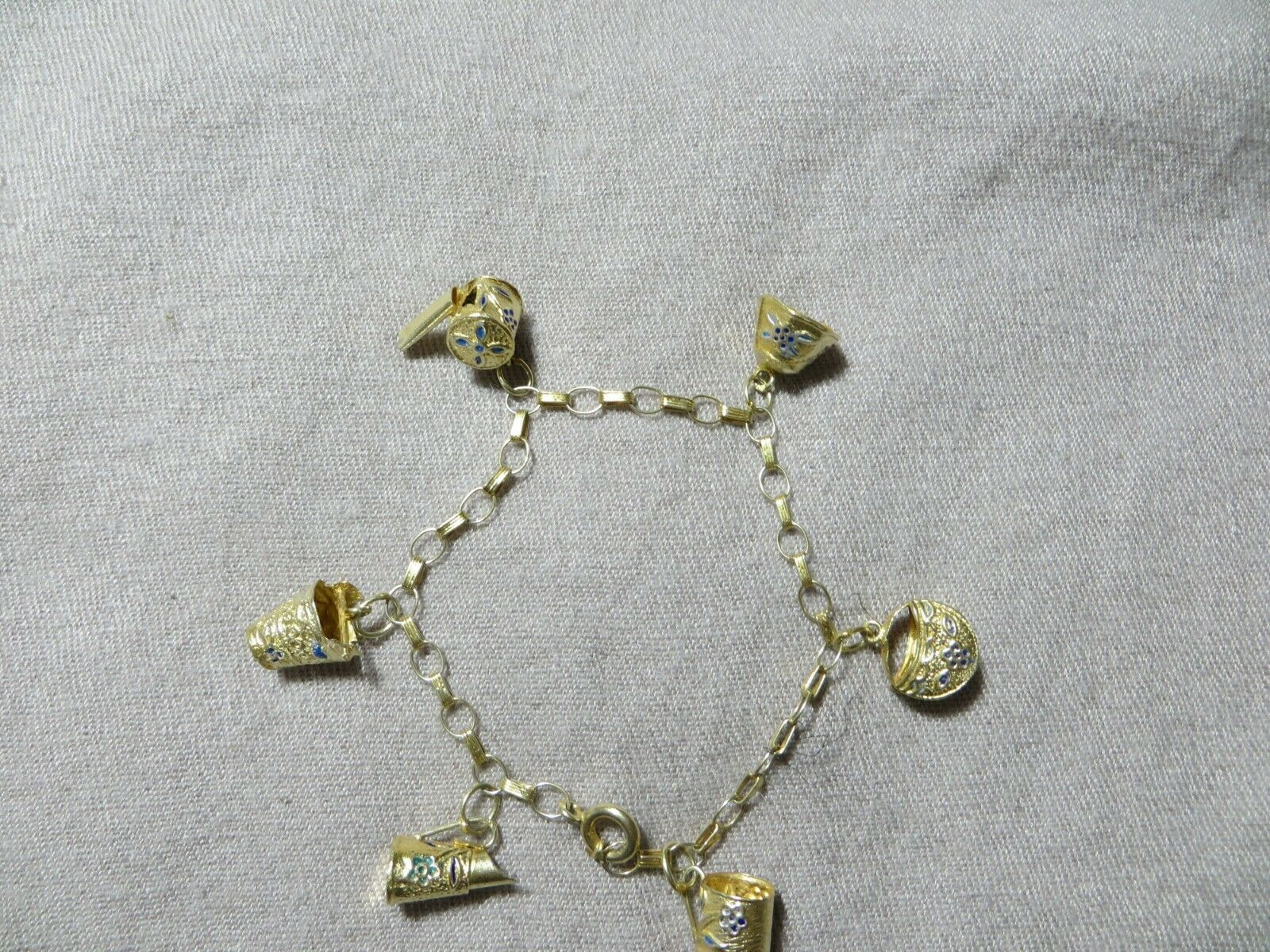 Old Chinese Export Gold Gilt Silver Blue Cloisonne Enamel Charms Chain Bracelet