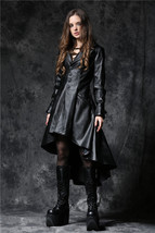 Women's Vegan Leather Goth Coat Black Pleather Dovetail Hooded Fetish Ja... - $82.83